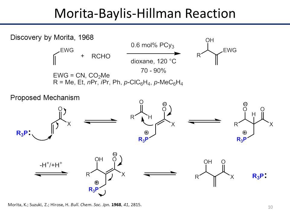 Morita-Baylis-Hillman Reaction Discovery by Morita, 1968 Morita, K.; Suzuki, Z.; Hirose, H.