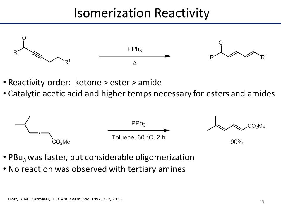 Catalytic acetic acid and higher temps necessary for esters and amides Isomerization Reactivity Reactivity order: ketone > ester > amide PBu 3 was faster, but considerable oligomerization No reaction was observed with tertiary amines Trost, B.