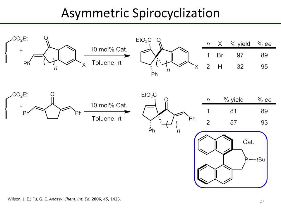 Asymmetric Spirocyclization Wilson, J. E.; Fu, G. C. Angew. Chem. Int. Ed. 2006, 45, 1426. 27