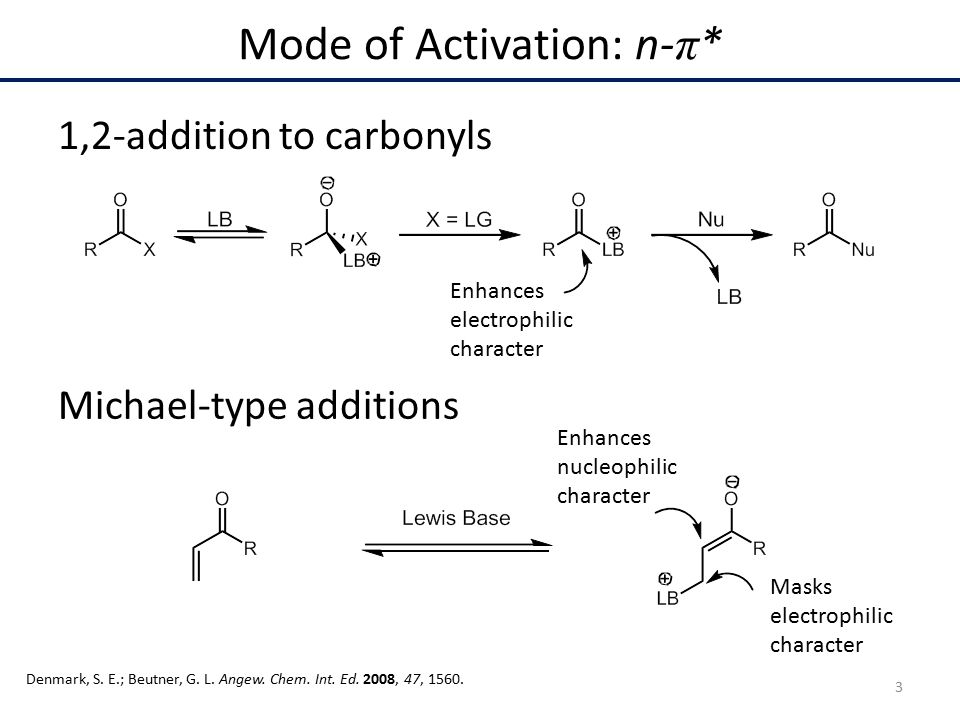 1,2-addition to carbonyls Michael-type additions Mode of Activation: n- π * Enhances nucleophilic character Masks electrophilic character Denmark, S.