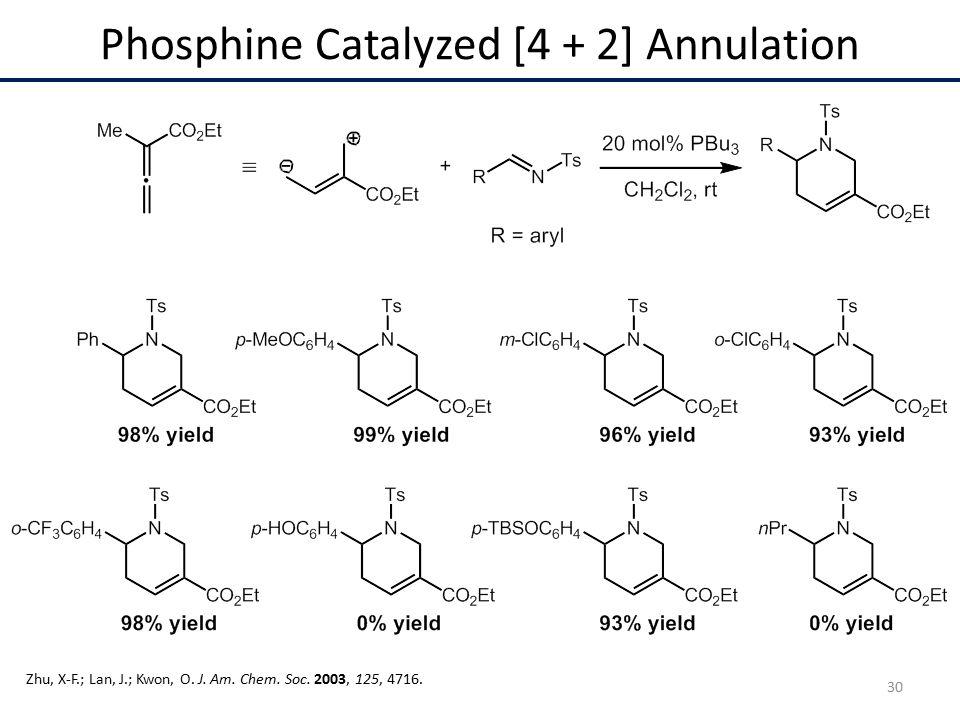 Phosphine Catalyzed [4 + 2] Annulation Zhu, X-F.; Lan, J.; Kwon, O.