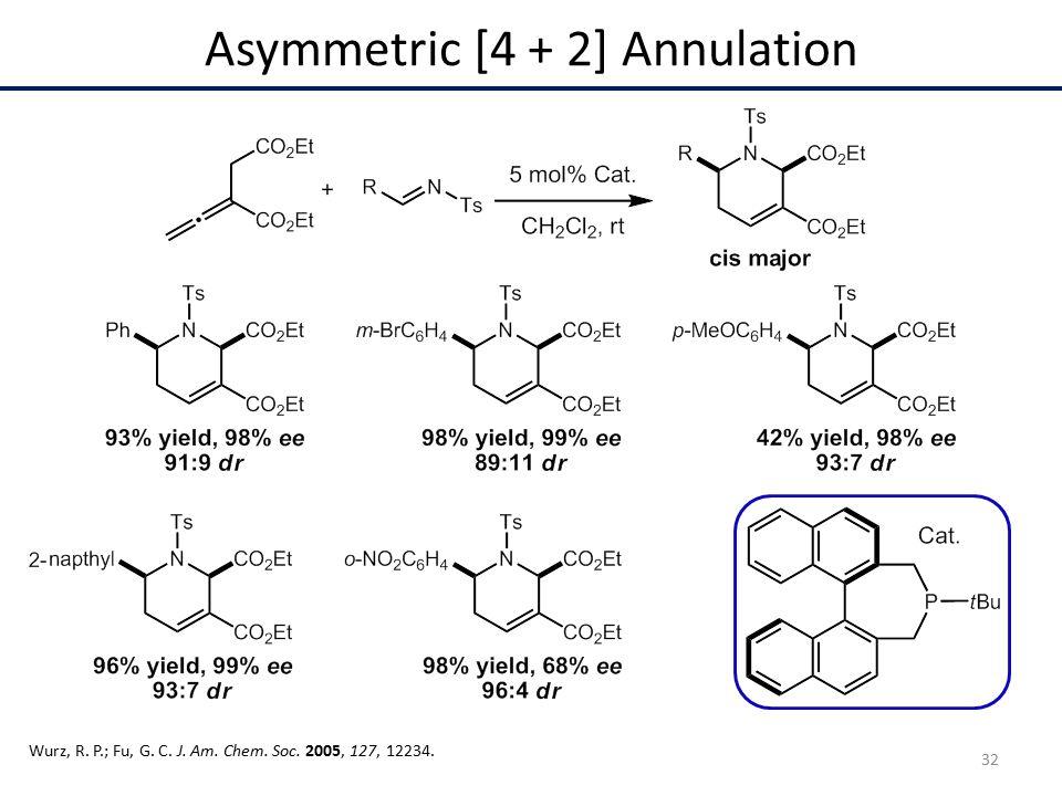 Asymmetric [4 + 2] Annulation Wurz, R. P.; Fu, G. C. J. Am. Chem. Soc. 2005, 127, 12234. 32
