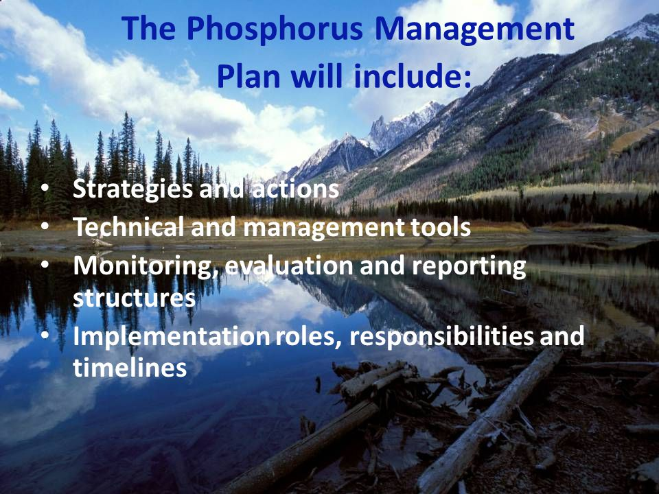 Strategies and actions Technical and management tools Monitoring, evaluation and reporting structures Implementation roles, responsibilities and timelines The Phosphorus Management Plan will include: