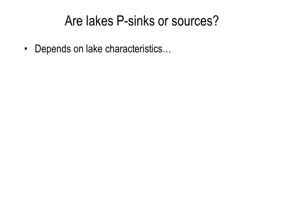 Are lakes P-sinks or sources Depends on lake characteristics…