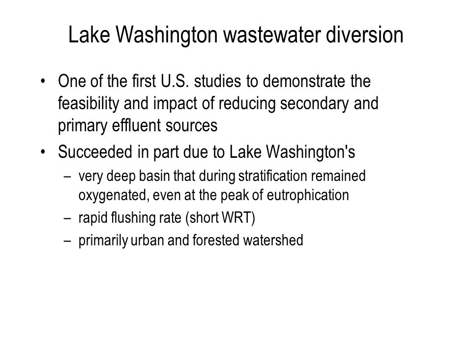 Lake Washington wastewater diversion One of the first U.S.