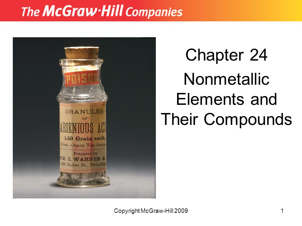 Copyright McGraw-Hill 20091 Chapter 24 Nonmetallic Elements and Their Compounds Insert picture from First page of chapter