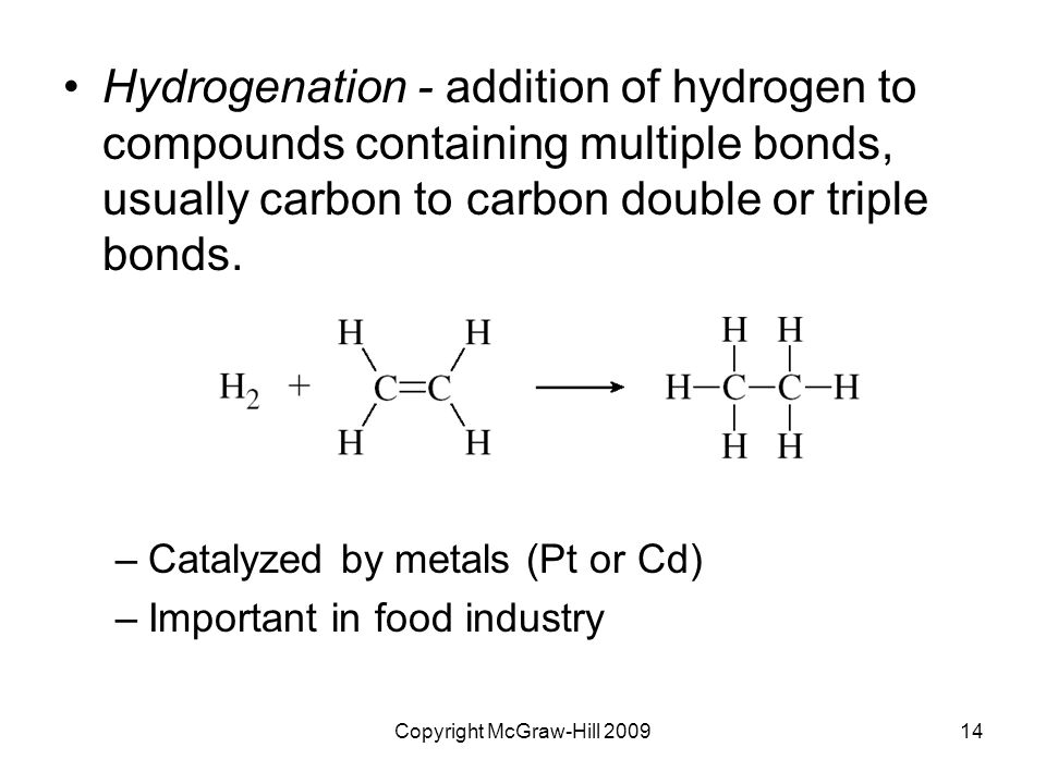 Copyright McGraw-Hill 200914 Hydrogenation - addition of hydrogen to compounds containing multiple bonds, usually carbon to carbon double or triple bonds.