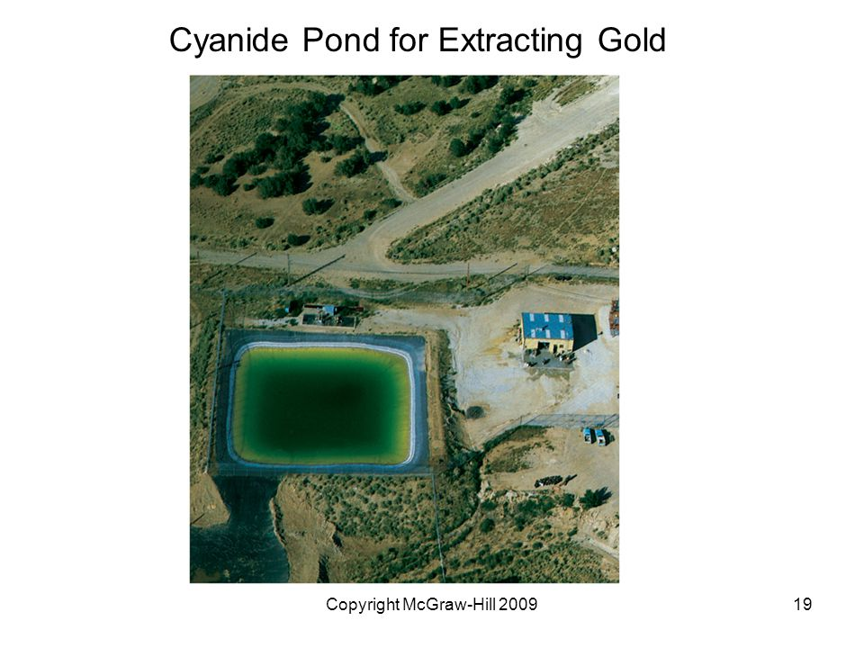 Copyright McGraw-Hill 200919 Cyanide Pond for Extracting Gold