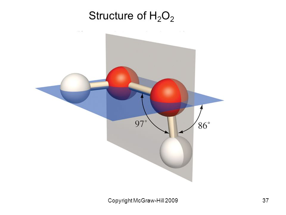 Copyright McGraw-Hill 200937 Structure of H 2 O 2