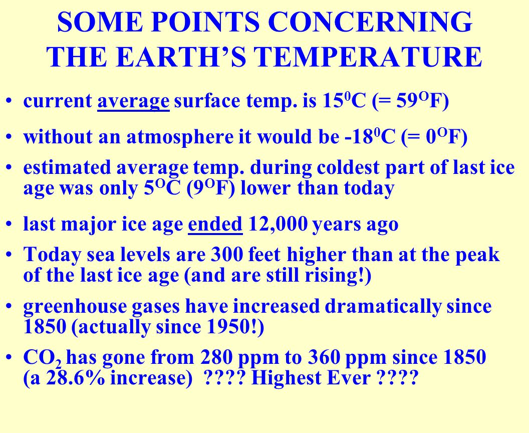 SOME POINTS CONCERNING THE EARTH'S TEMPERATURE current average surface temp.