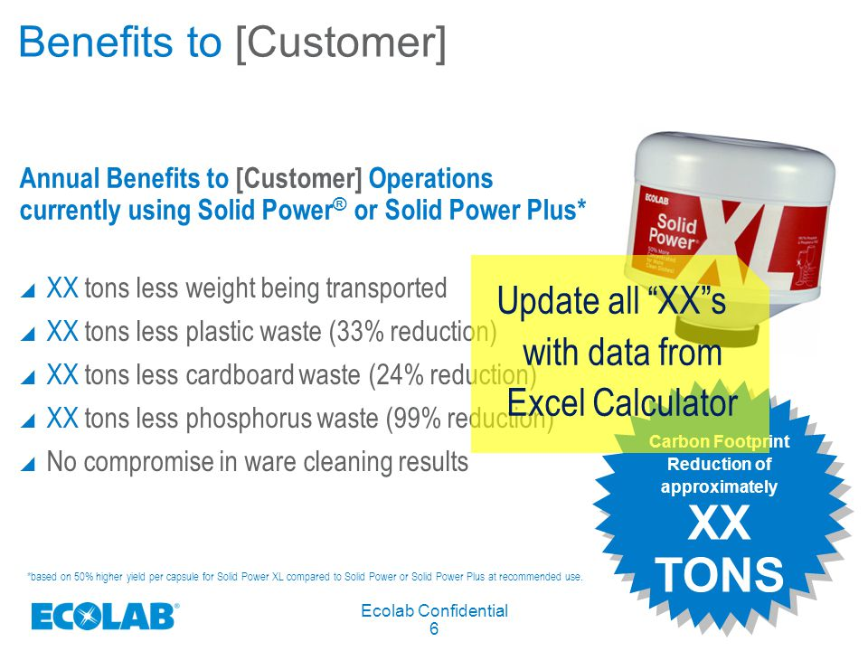 Ecolab Confidential 6 Benefits to [Customer]  XX tons less weight being transported  XX tons less plastic waste (33% reduction)  XX tons less cardboard waste (24% reduction)  XX tons less phosphorus waste (99% reduction)  No compromise in ware cleaning results Carbon Footprint Reduction of approximately XX TONS Carbon Footprint Reduction of approximately XX TONS Annual Benefits to [Customer] Operations currently using Solid Power ® or Solid Power Plus* Update all XX s with data from Excel Calculator *based on 50% higher yield per capsule for Solid Power XL compared to Solid Power or Solid Power Plus at recommended use.
