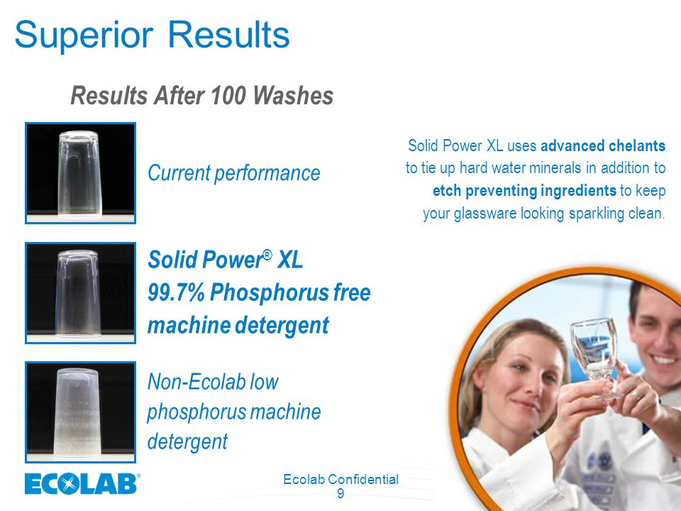 Ecolab Confidential 9 Superior Results Non-Ecolab low phosphorus machine detergent Solid Power ® XL 99.7% Phosphorus free machine detergent Results Af