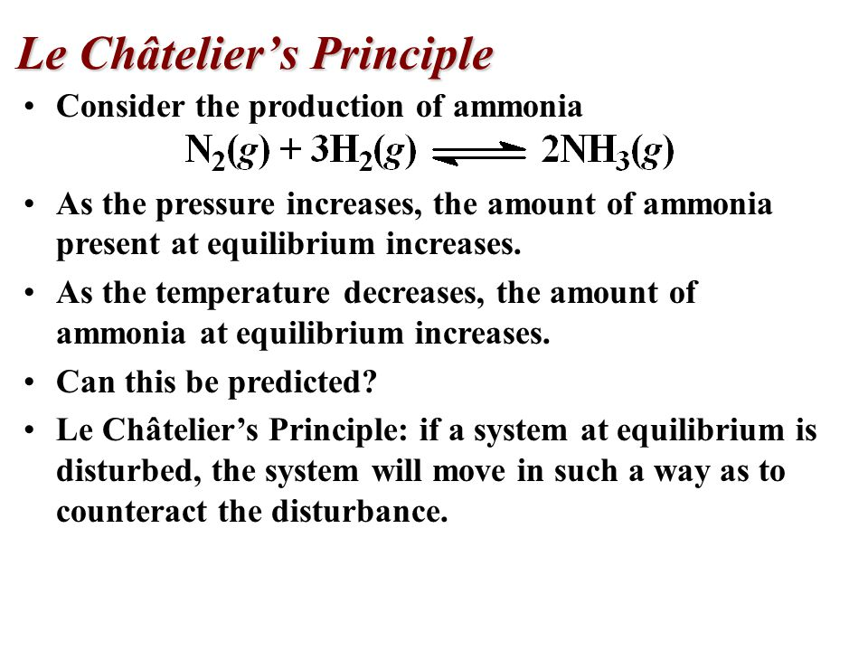 Consider the production of ammonia As the pressure increases, the amount of ammonia present at equilibrium increases.