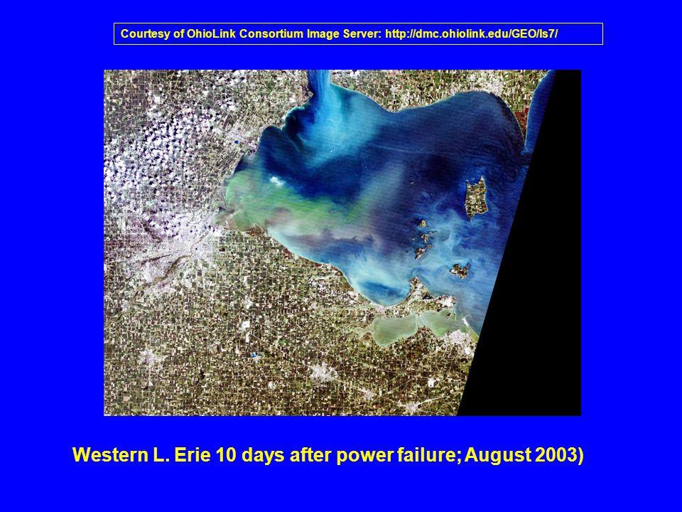 Western L. Erie 10 days after power failure; August 2003) Courtesy of OhioLink Consortium Image Server: http://dmc.ohiolink.edu/GEO/ls7/