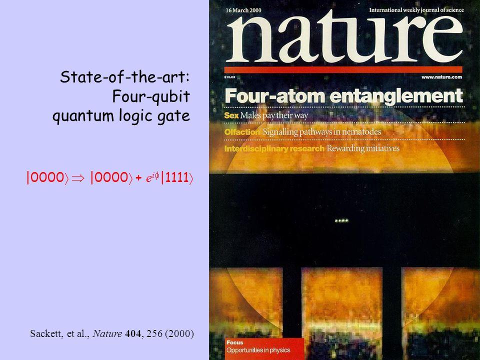 State-of-the-art: Four-qubit quantum logic gate Sackett, et al., Nature 404, 256 (2000)  0000    0000  + e i   1111 