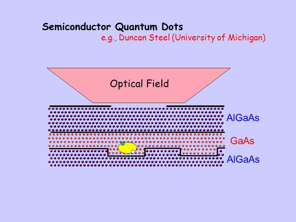Semiconductor Quantum Dots e.g., Duncan Steel (University of Michigan) GaAs AlGaAs Optical Field