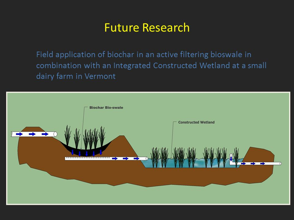 Field application of biochar in an active filtering bioswale in combination with an Integrated Constructed Wetland at a small dairy farm in Vermont