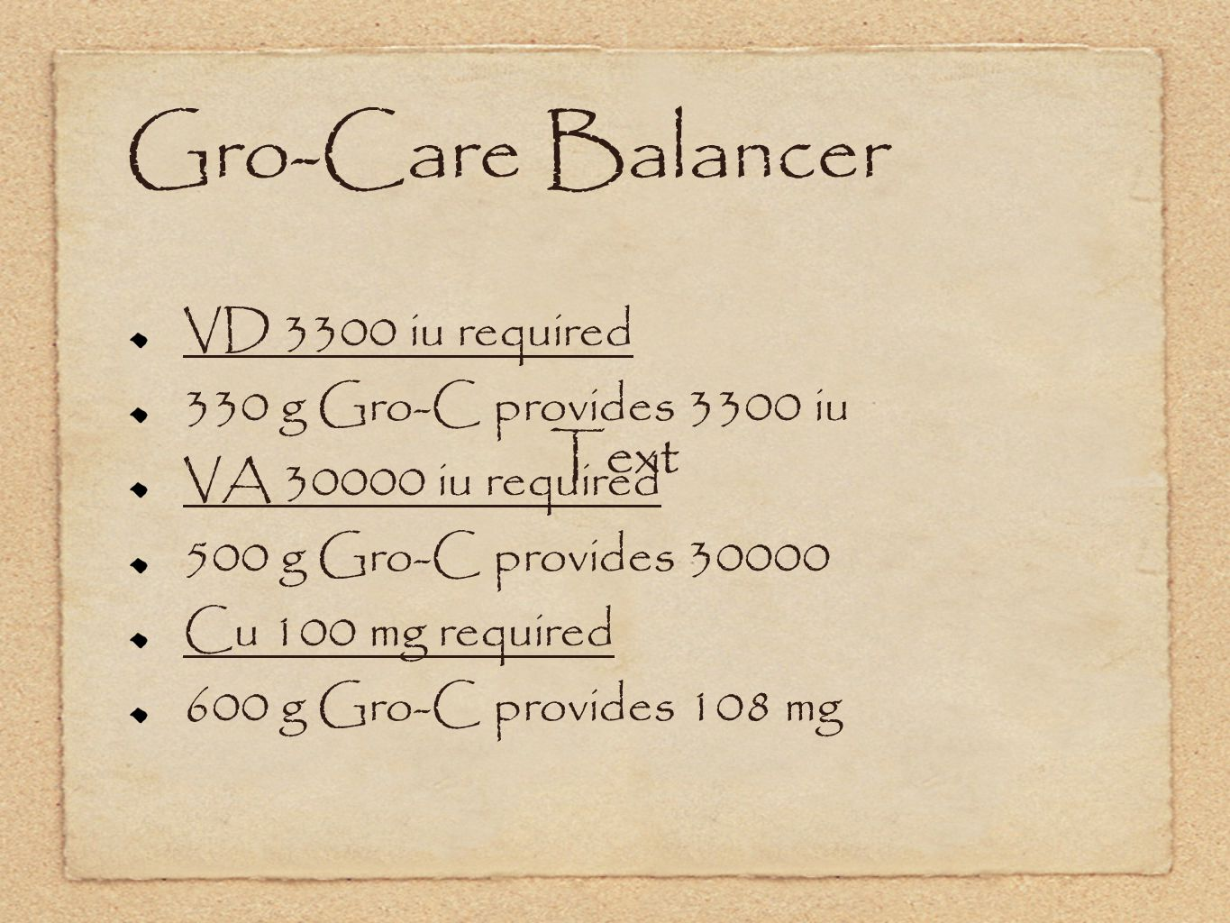 Gro-Care Balancer VD 3300 iu required 330 g Gro-C provides 3300 iu VA 30000 iu required 500 g Gro-C provides 30000 Cu 100 mg required 600 g Gro-C provides 108 mg Text