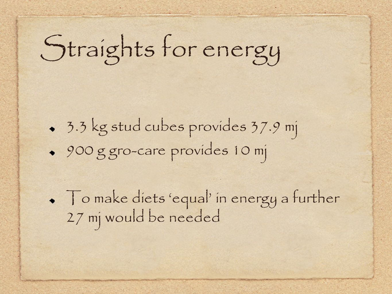 Straights for energy 3.3 kg stud cubes provides 37.9 mj 900 g gro-care provides 10 mj To make diets 'equal' in energy a further 27 mj would be needed