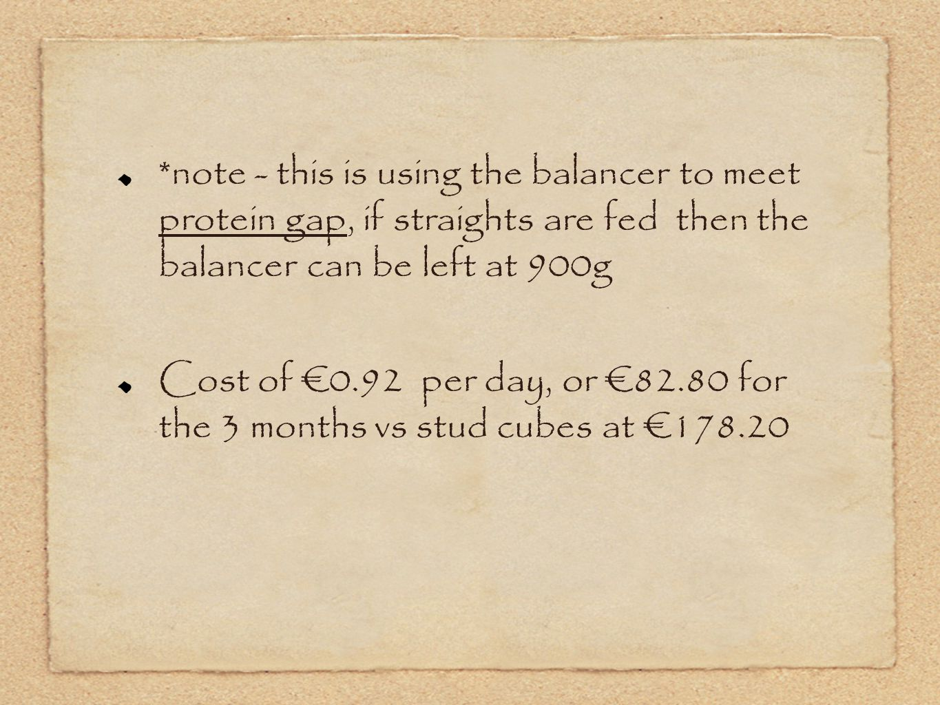 *note - this is using the balancer to meet protein gap, if straights are fed then the balancer can be left at 900g Cost of €0.92 per day, or €82.80 fo