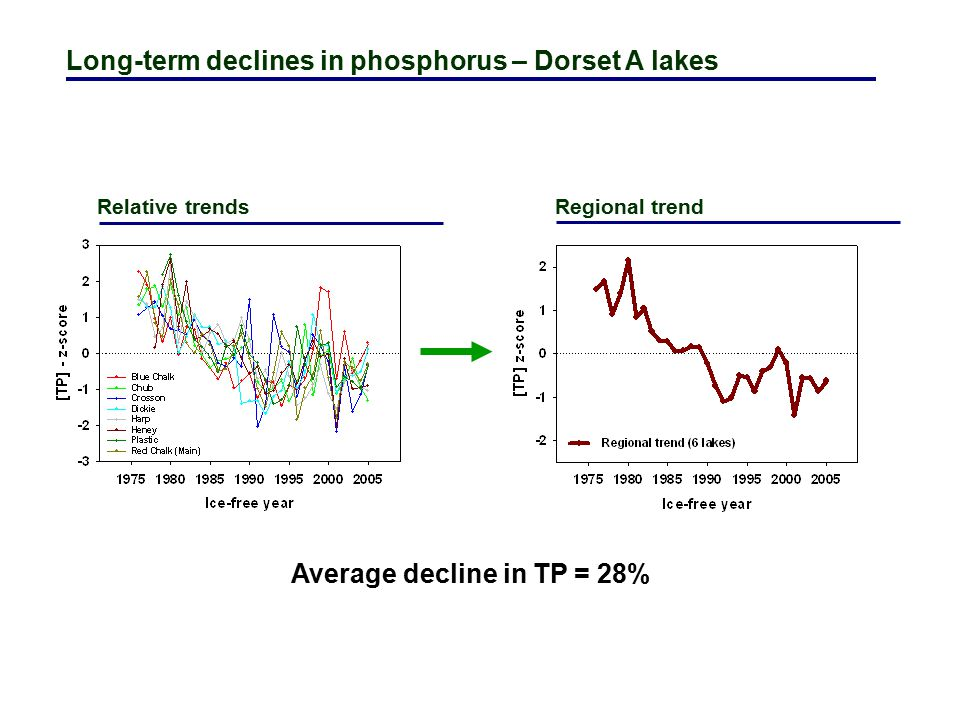 Long-term declines in phosphorus – Dorset A lakes Relative trends Regional trend Average decline in TP = 28%