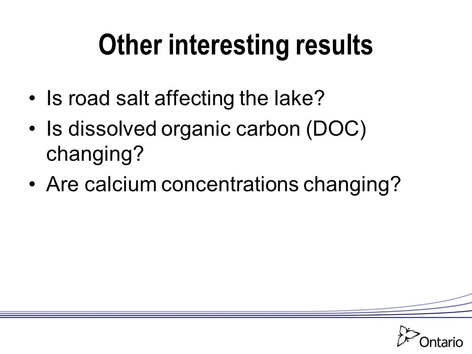 Other interesting results Is road salt affecting the lake.
