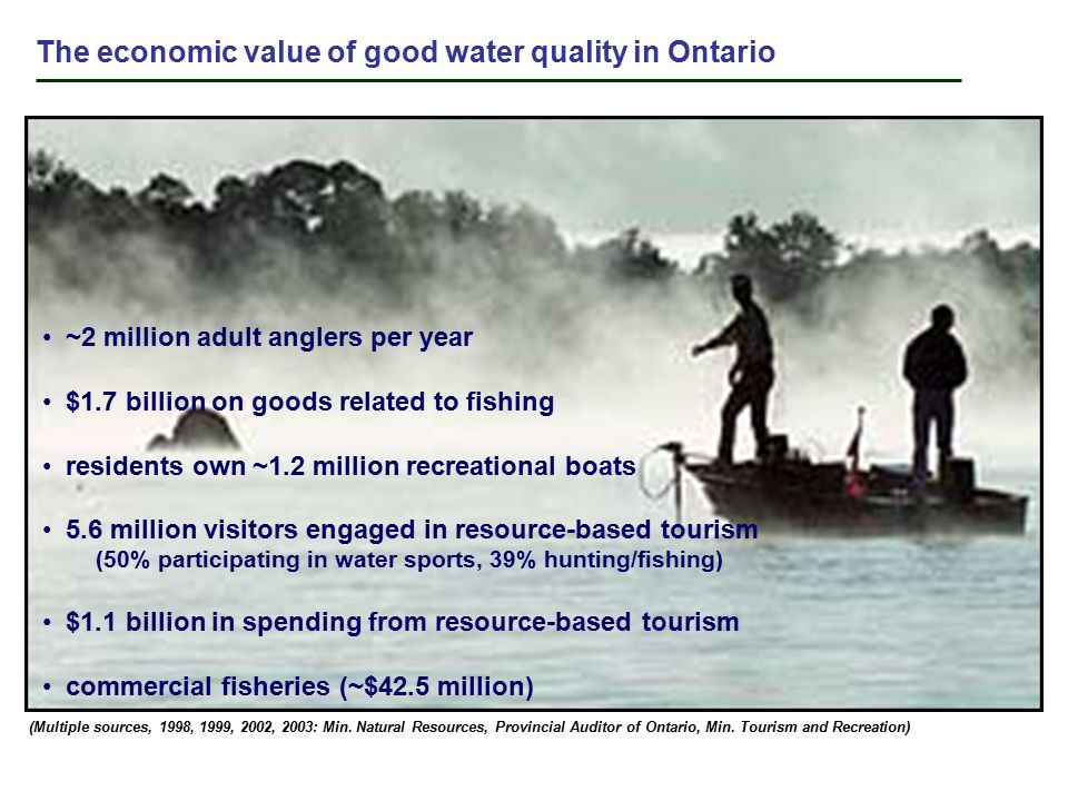 ~2 million adult anglers per year $1.7 billion on goods related to fishing residents own ~1.2 million recreational boats 5.6 million visitors engaged in resource-based tourism (50% participating in water sports, 39% hunting/fishing) $1.1 billion in spending from resource-based tourism commercial fisheries (~$42.5 million) The economic value of good water quality in Ontario (Multiple sources, 1998, 1999, 2002, 2003: Min.
