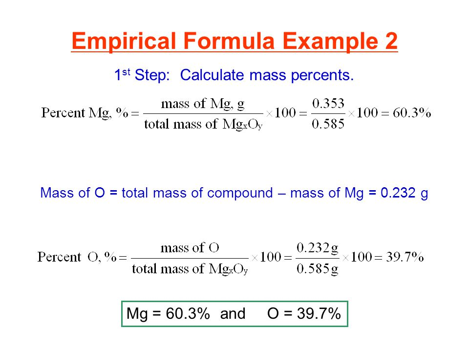 Mass of O = total mass of compound – mass of Mg = 0.232 g Mg = 60.3%andO = 39.7% Empirical Formula Example 2 1 st Step: Calculate mass percents.