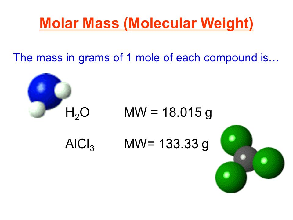 The mass in grams of 1 mole of each compound is… Molar Mass (Molecular Weight) H 2 OMW = 18.015 g AlCl 3 MW= 133.33 g