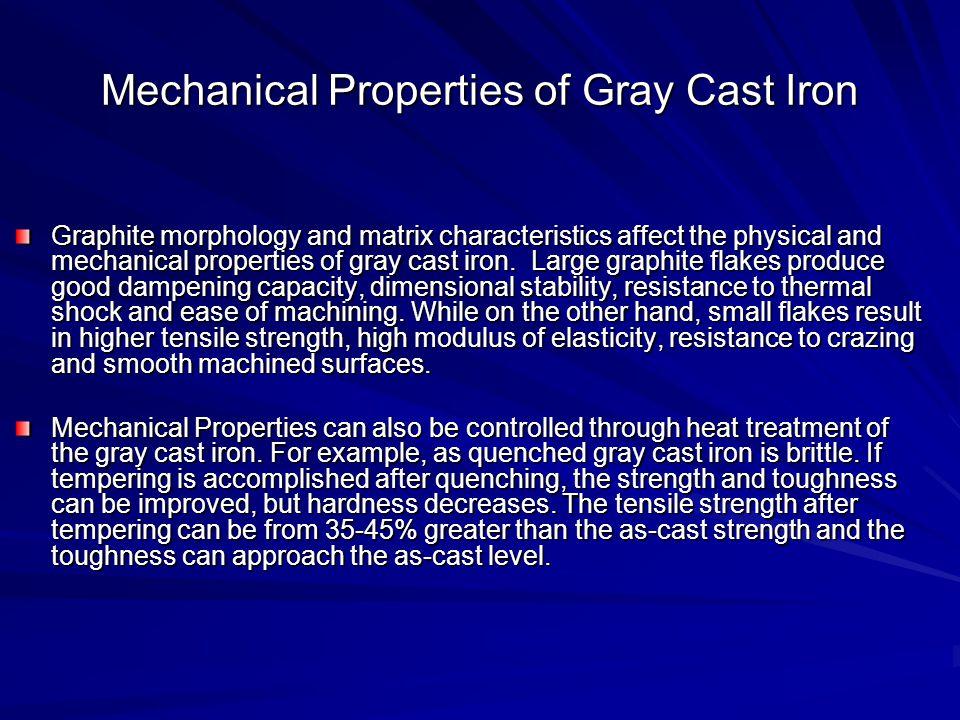 Mechanical Properties of Gray Cast Iron Graphite morphology and matrix characteristics affect the physical and mechanical properties of gray cast iron
