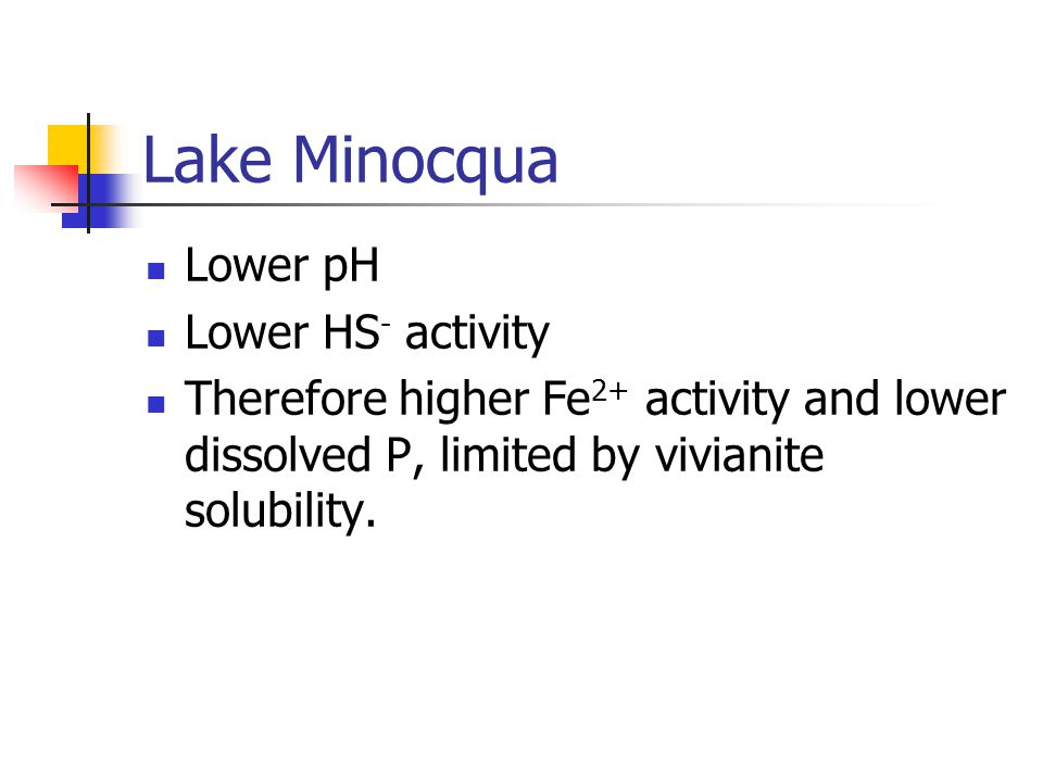 Lake Minocqua Lower pH Lower HS - activity Therefore higher Fe 2+ activity and lower dissolved P, limited by vivianite solubility.