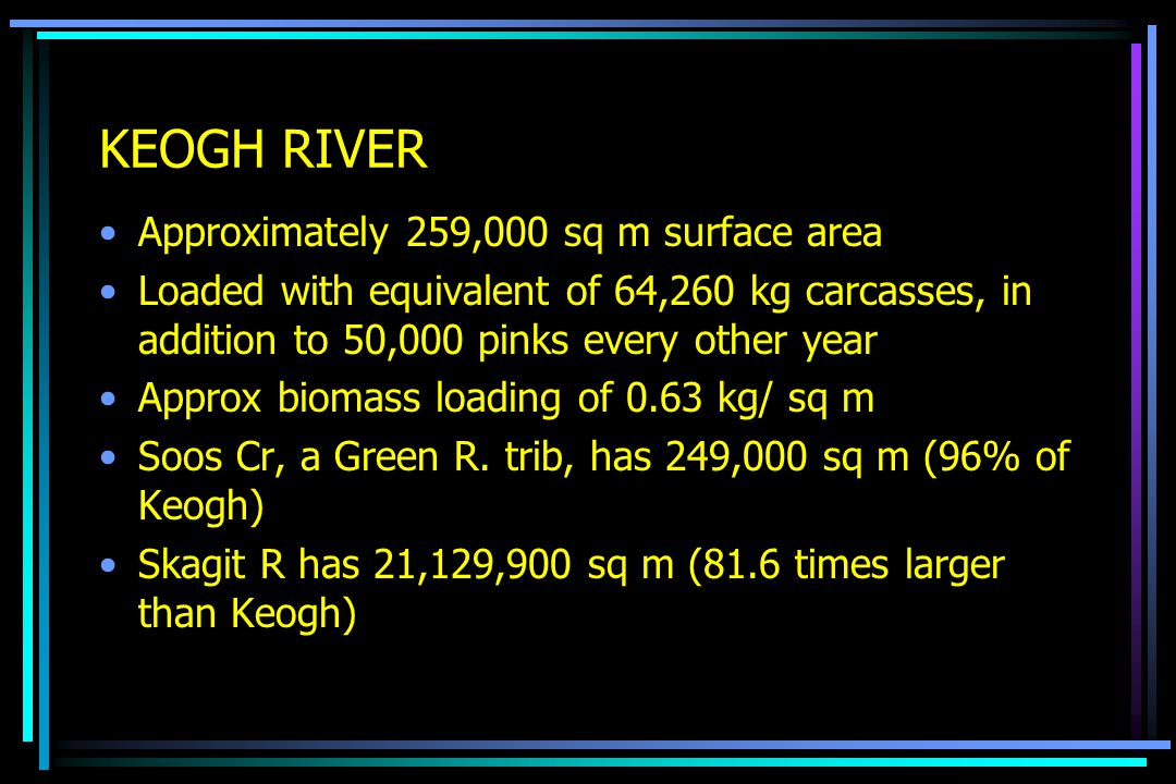 KEOGH RIVER Approximately 259,000 sq m surface area Loaded with equivalent of 64,260 kg carcasses, in addition to 50,000 pinks every other year Approx biomass loading of 0.63 kg/ sq m Soos Cr, a Green R.