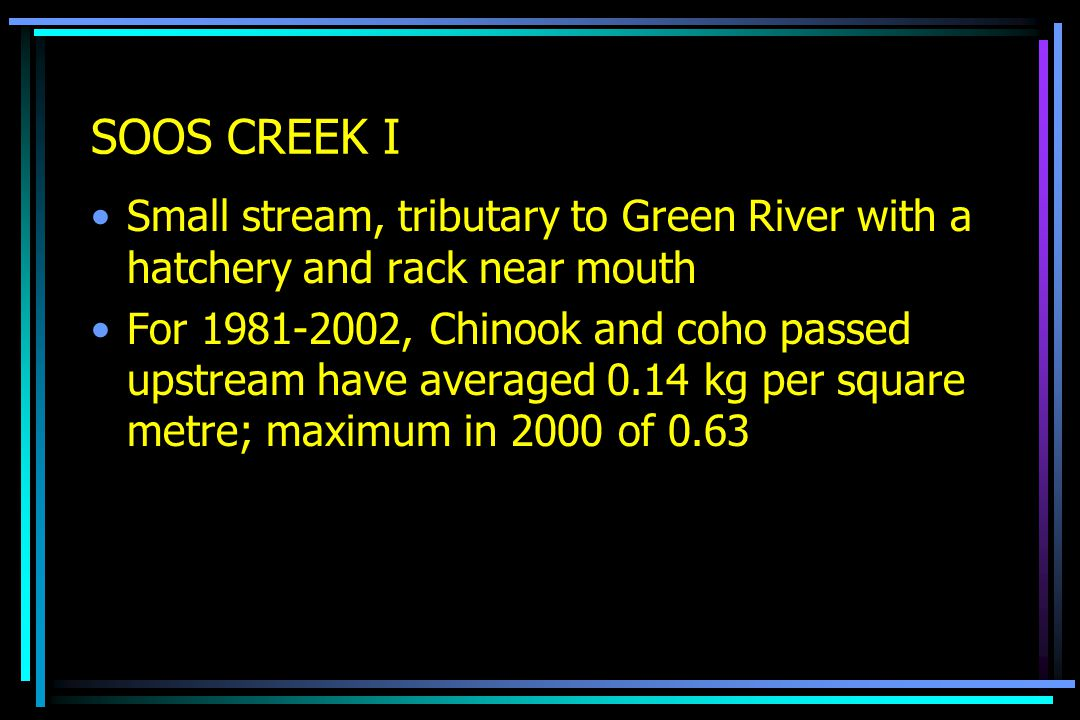 SOOS CREEK I Small stream, tributary to Green River with a hatchery and rack near mouth For 1981-2002, Chinook and coho passed upstream have averaged 0.14 kg per square metre; maximum in 2000 of 0.63