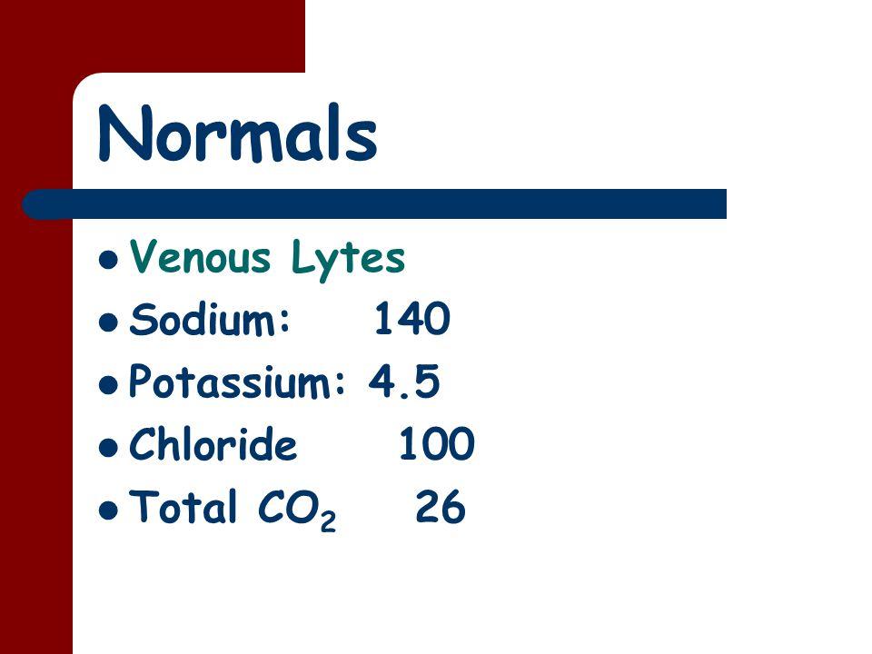 Normals Venous Lytes Sodium: 140 Potassium: 4.5 Chloride 100 Total CO 2 26