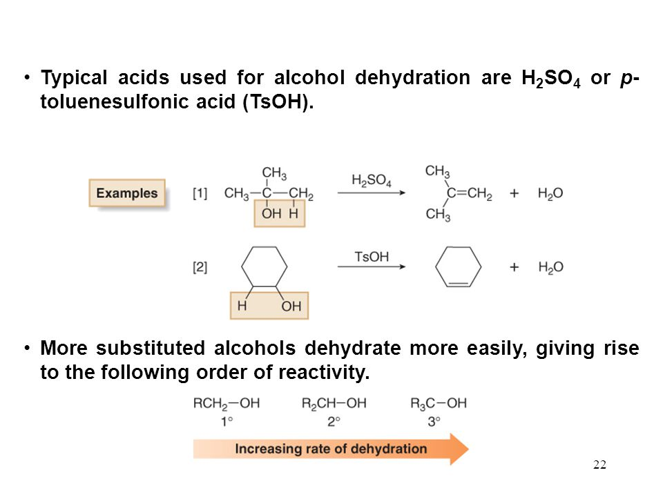 22 Typical acids used for alcohol dehydration are H 2 SO 4 or p- toluenesulfonic acid (TsOH).