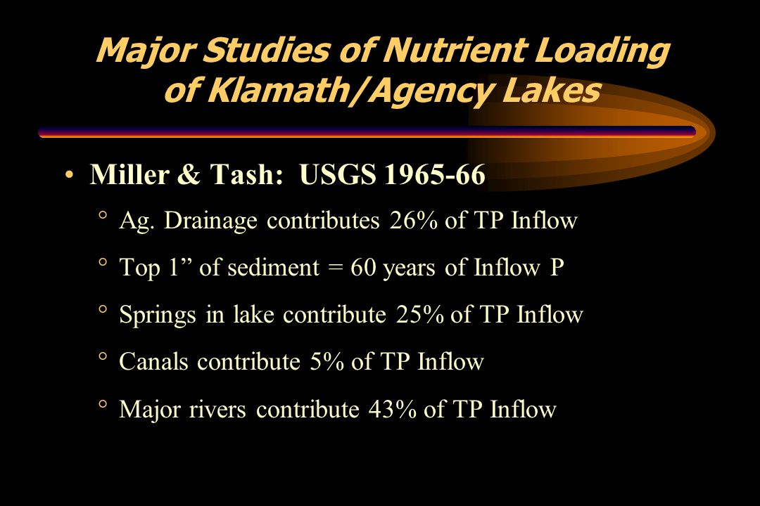"Major Studies of Nutrient Loading of Klamath/Agency Lakes Miller & Tash: USGS 1965-66 °Ag. Drainage contributes 26% of TP Inflow °Top 1"" of sediment ="