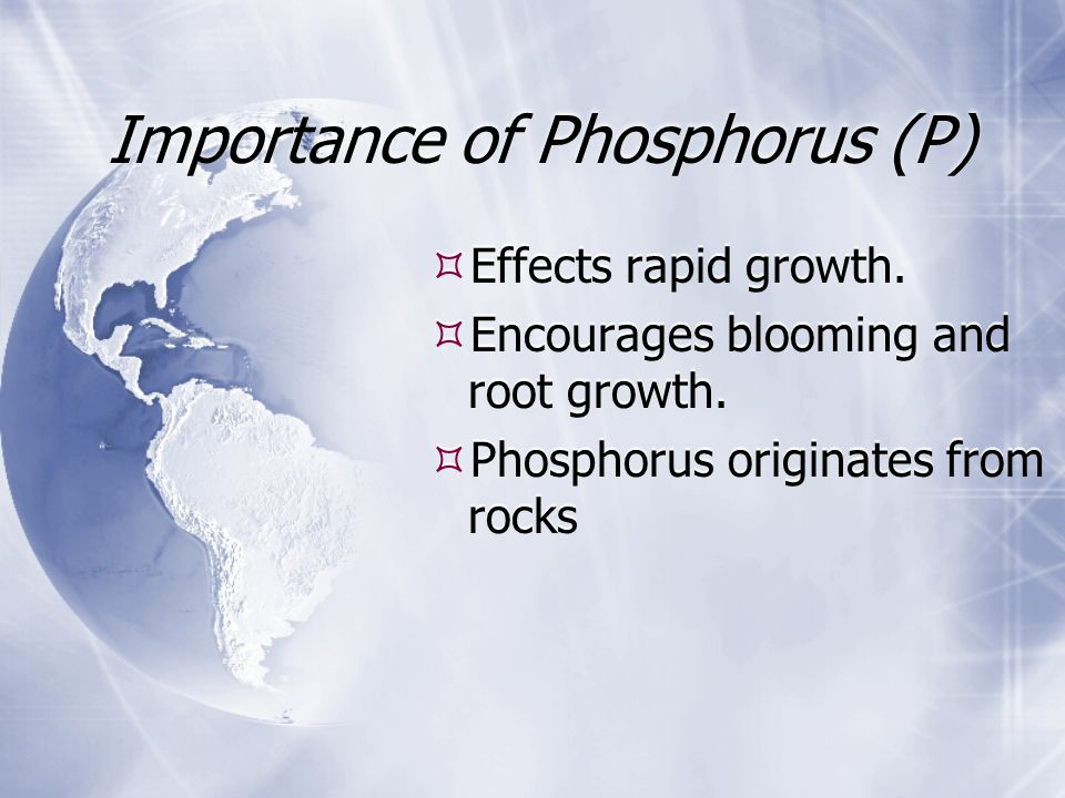Importance of Phosphorus (P)  Effects rapid growth.  Encourages blooming and root growth.  Phosphorus originates from rocks  Effects rapid growth.