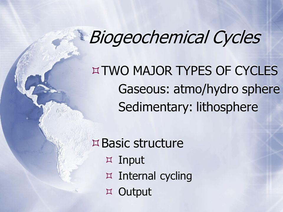 Biogeochemical Cycles  TWO MAJOR TYPES OF CYCLES Gaseous: atmo/hydro sphere Sedimentary: lithosphere  Basic structure  Input  Internal cycling  O