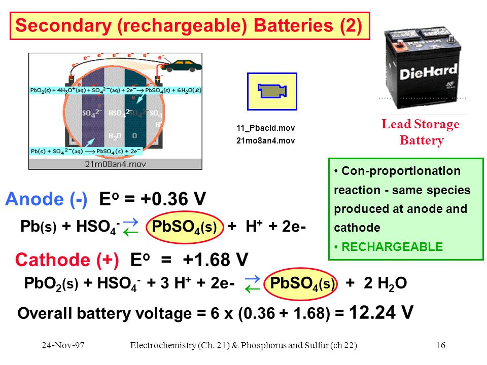 24-Nov-97Electrochemistry (Ch. 21) & Phosphorus and Sulfur (ch 22)16 Secondary (rechargeable) Batteries (2) Lead Storage Battery 11_Pbacid.mov 21mo8an