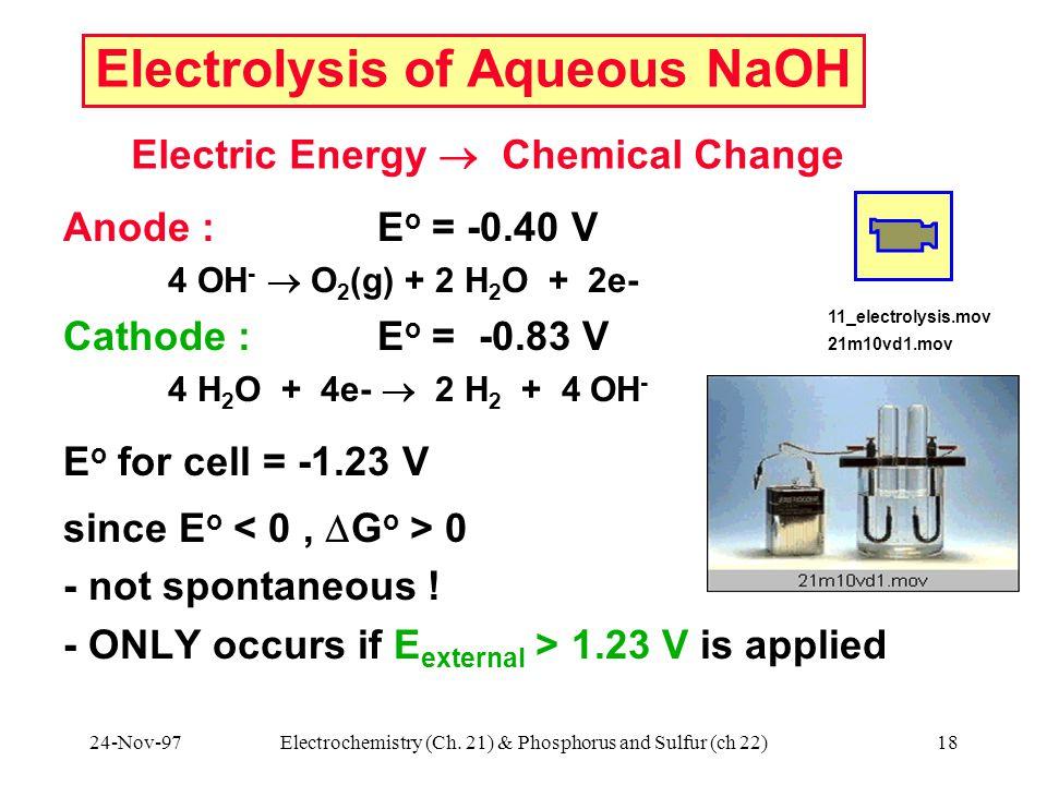 24-Nov-97Electrochemistry (Ch. 21) & Phosphorus and Sulfur (ch 22)18 Electrolysis of Aqueous NaOH Anode : E o = -0.40 V 4 OH -  O 2 (g) + 2 H 2 O + 2