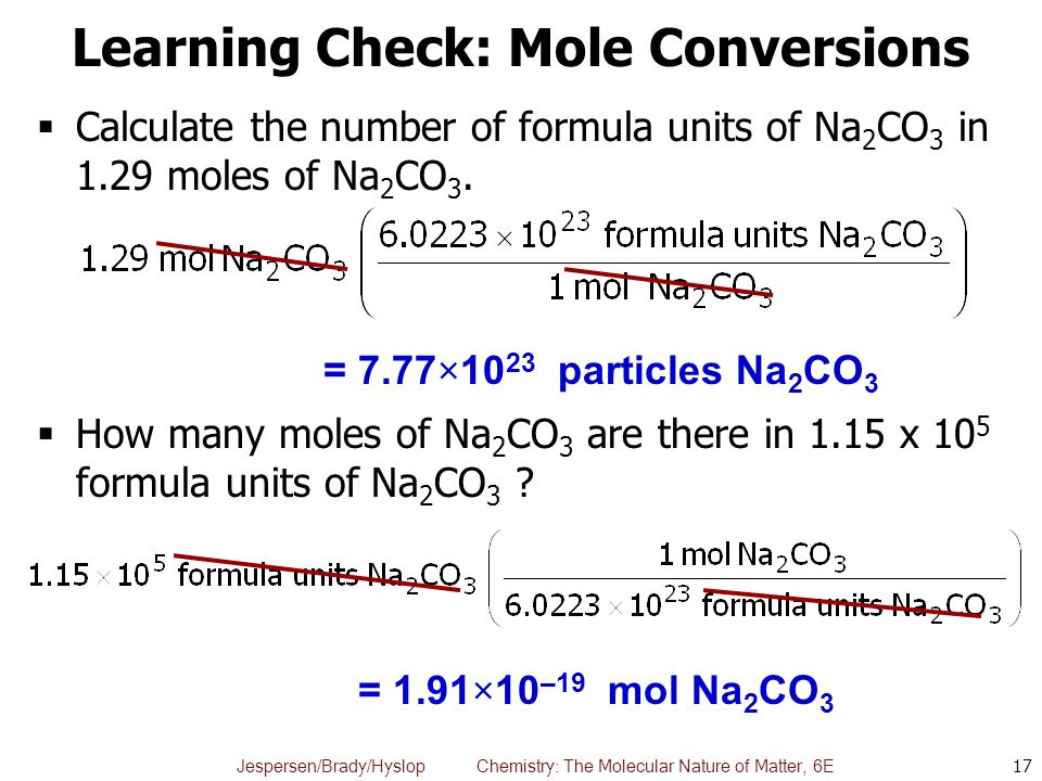 Jespersen/Brady/Hyslop Chemistry: The Molecular Nature of Matter, 6E Learning Check: Mole Conversions  Calculate the number of formula units of Na 2