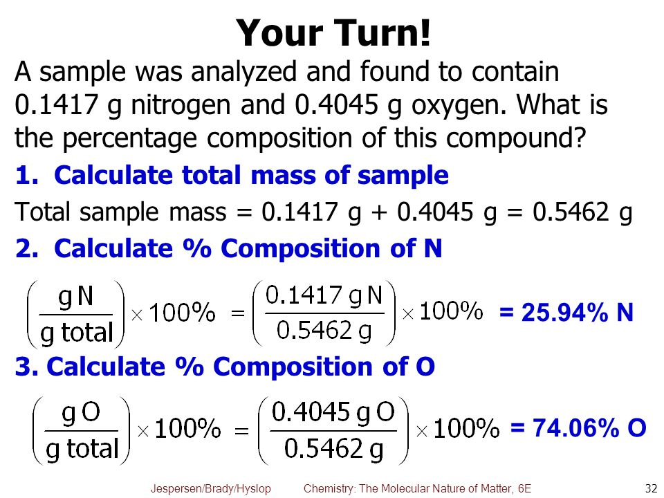 Jespersen/Brady/Hyslop Chemistry: The Molecular Nature of Matter, 6E Your Turn! A sample was analyzed and found to contain 0.1417 g nitrogen and 0.404