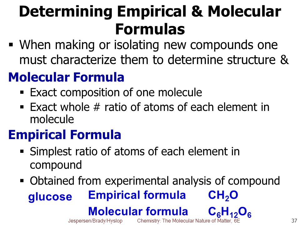 Jespersen/Brady/Hyslop Chemistry: The Molecular Nature of Matter, 6E Determining Empirical & Molecular Formulas  When making or isolating new compoun