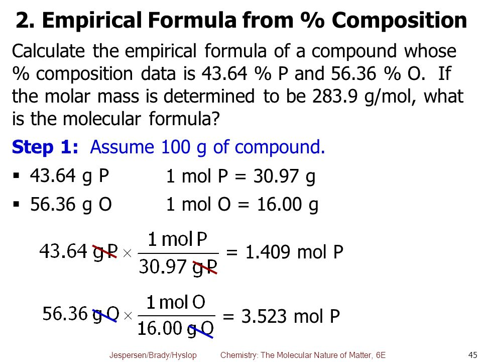 Jespersen/Brady/Hyslop Chemistry: The Molecular Nature of Matter, 6E 2. Empirical Formula from % Composition 45 Calculate the empirical formula of a c