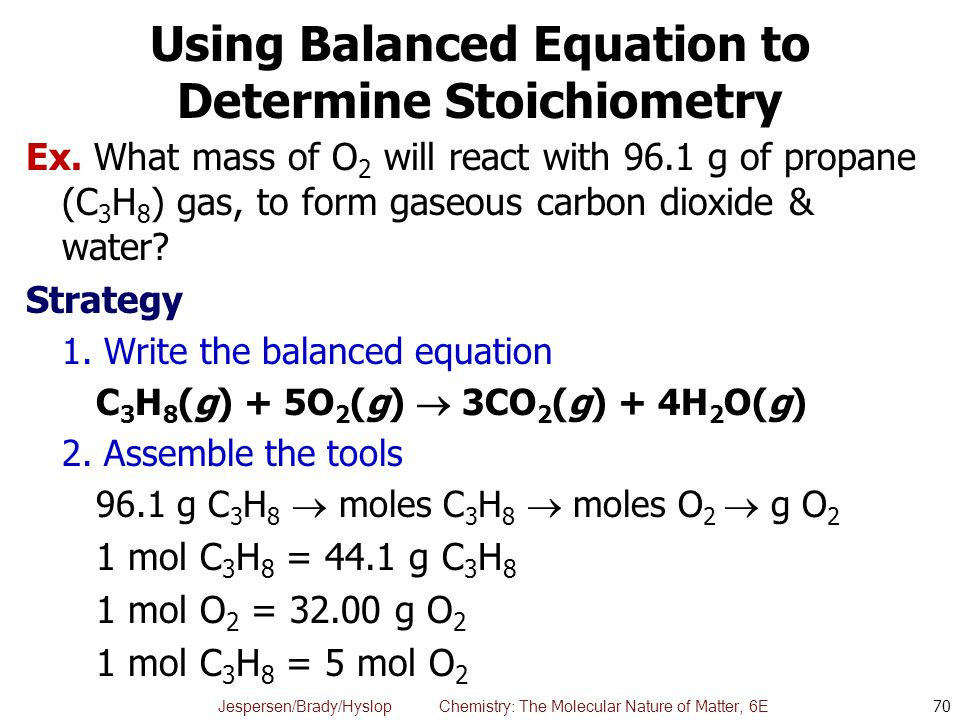 Jespersen/Brady/Hyslop Chemistry: The Molecular Nature of Matter, 6E Using Balanced Equation to Determine Stoichiometry Ex. What mass of O 2 will reac