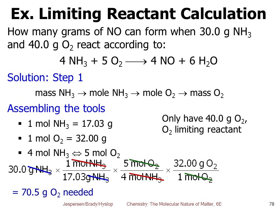 Jespersen/Brady/Hyslop Chemistry: The Molecular Nature of Matter, 6E Ex. Limiting Reactant Calculation How many grams of NO can form when 30.0 g NH 3