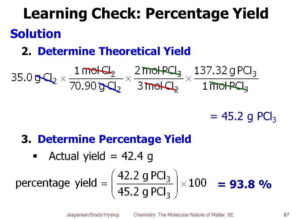 Jespersen/Brady/Hyslop Chemistry: The Molecular Nature of Matter, 6E Learning Check: Percentage Yield Solution 2.Determine Theoretical Yield 3.Determi
