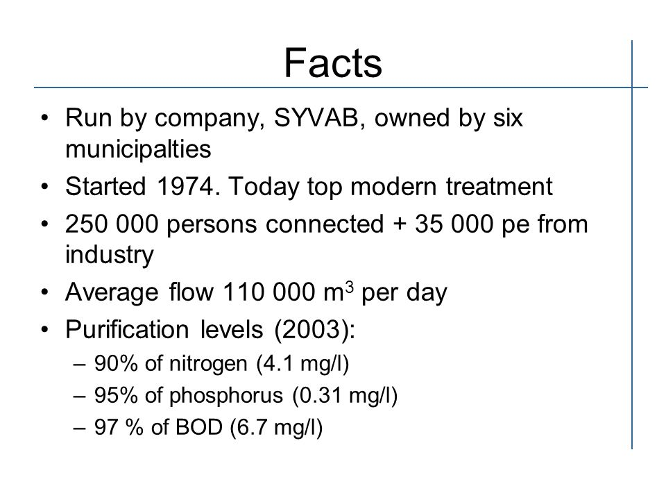 Facts Run by company, SYVAB, owned by six municipalties Started 1974.