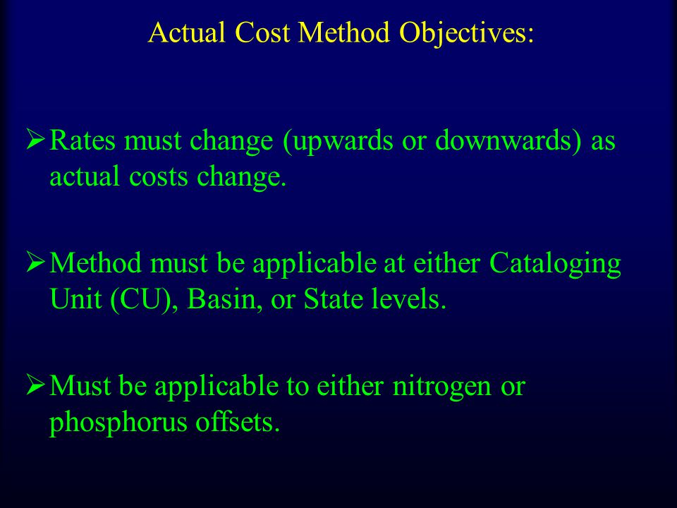 Actual Cost Method Objectives:  Rates must change (upwards or downwards) as actual costs change.