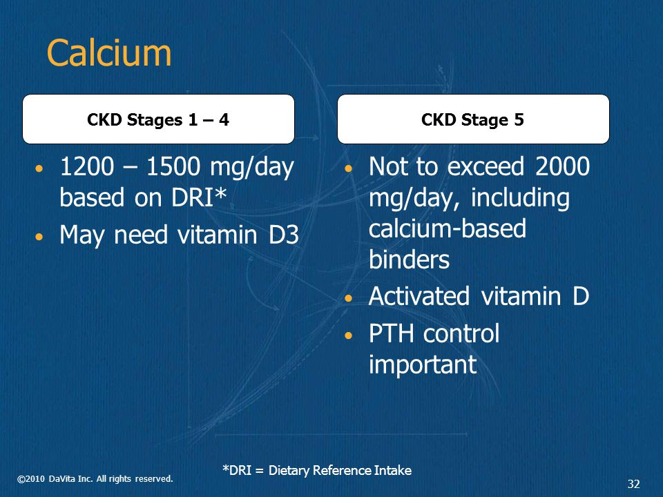 ©2010 DaVita Inc. All rights reserved. 32 1200 – 1500 mg/day based on DRI* May need vitamin D3 Not to exceed 2000 mg/day, including calcium-based bind